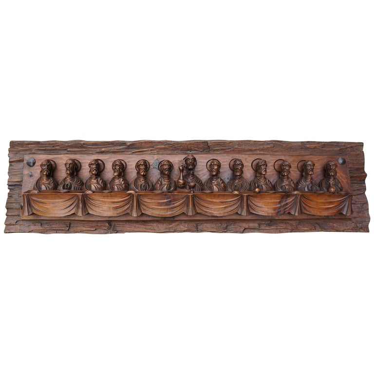 Wood Carving Representing the Last Supper For Sale
