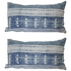 Pair of Antique African Mud Cloth Lumbar Pillows with Down