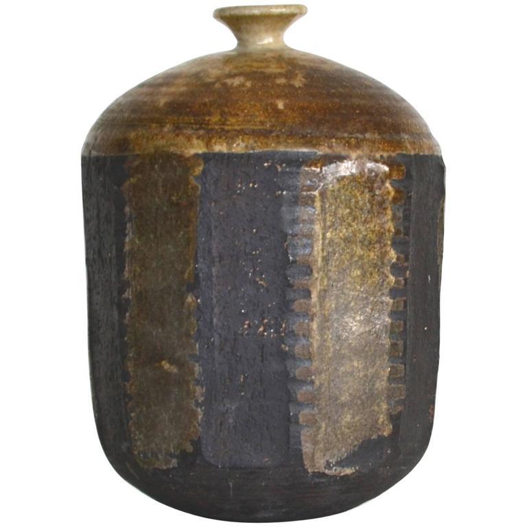 Mid-Century Hand Thrown Jar Form Ceramic Vase
