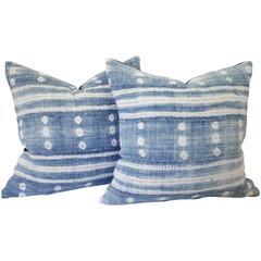 Pair of African Mud Cloth Indigo Pillows