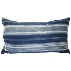 Antique African Mud Cloth Indigo Lumbar Pillow