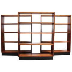 Mid-Century Custom Mahogany Book Shelves with Ebonized Plinth Bases