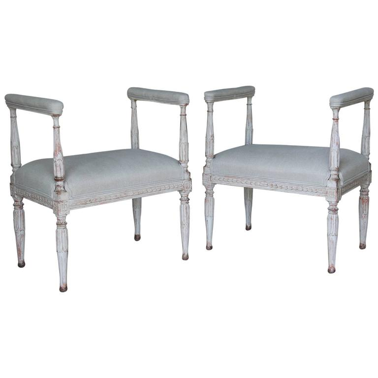Swedish Gustavian Antique Pair Window Seat Benches with Armrests, 19th Century For Sale