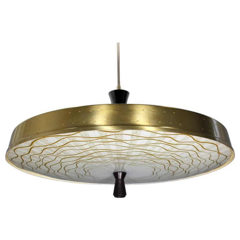 Pendant Light With Glass Diffuser : Mid century thurston style pendant with murano glass
