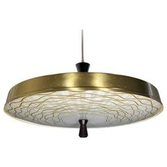 Mid-Century Thurston Style Pendant with Murano Glass Diffuser