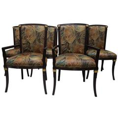 Mid-Century Set 10 Dining Chairs, Charcoal Gray Lacquer- Fine Interior Crafts
