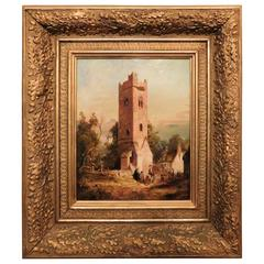 "Oil on Board ""Old Tower at Dundalk-County Louth, Ireland"" by T Brown, 1855"