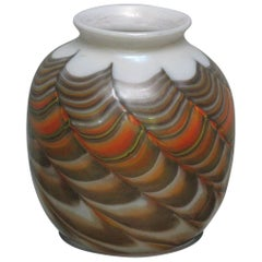 Mid-Century Vase Burnt Orange and Iridescent Gold Pulled Feather, Quezal Style