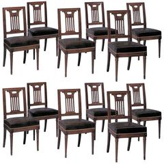 """12 Dining Chairs by Georges Jacob """"Maitre 1765"""" Paris, France, circa 1785"""