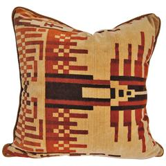 Custom Pillow Cut from an Amsterdam School Vintage Velvet Textile