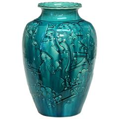Awaji Pottery Turquoise Vase with Applied Prunus Blossom Decor
