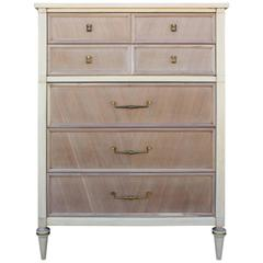 Hollywood Regency Modern Bleached Wood Tall Dresser / Chest with Brass Accents