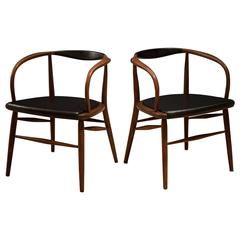 Vintage Pair of Curved Walnut Armchairs