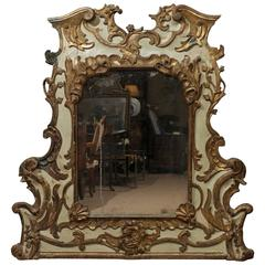 Carved 18th Century Venetian Painted and Parcel Gilt Mirror, Rococo Period