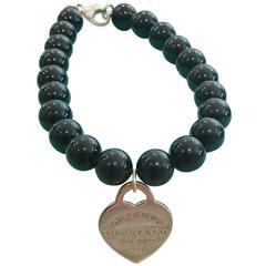 Tiffany & Co. Silver Heart Tag 7.5' Black Onyx Bead Bracelet
