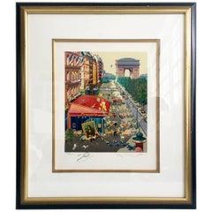 "1985 Hiro Yamagata Original Serigraph, ""Paris"" Hand Signed LE 703/1000"