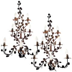 Pair of Tall Mid-20th Century Italian Seven-Light Wrought Iron Wall Sconces