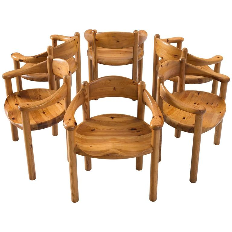 daumiller set of six dining chairs in solid pine for sale at 1stdibs