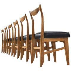 Guillerme and Chambron Set of Six Oak Dining Chairs