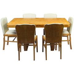 Antique Art Deco Bird's-Eye Maple Dining Table and Six Chairs