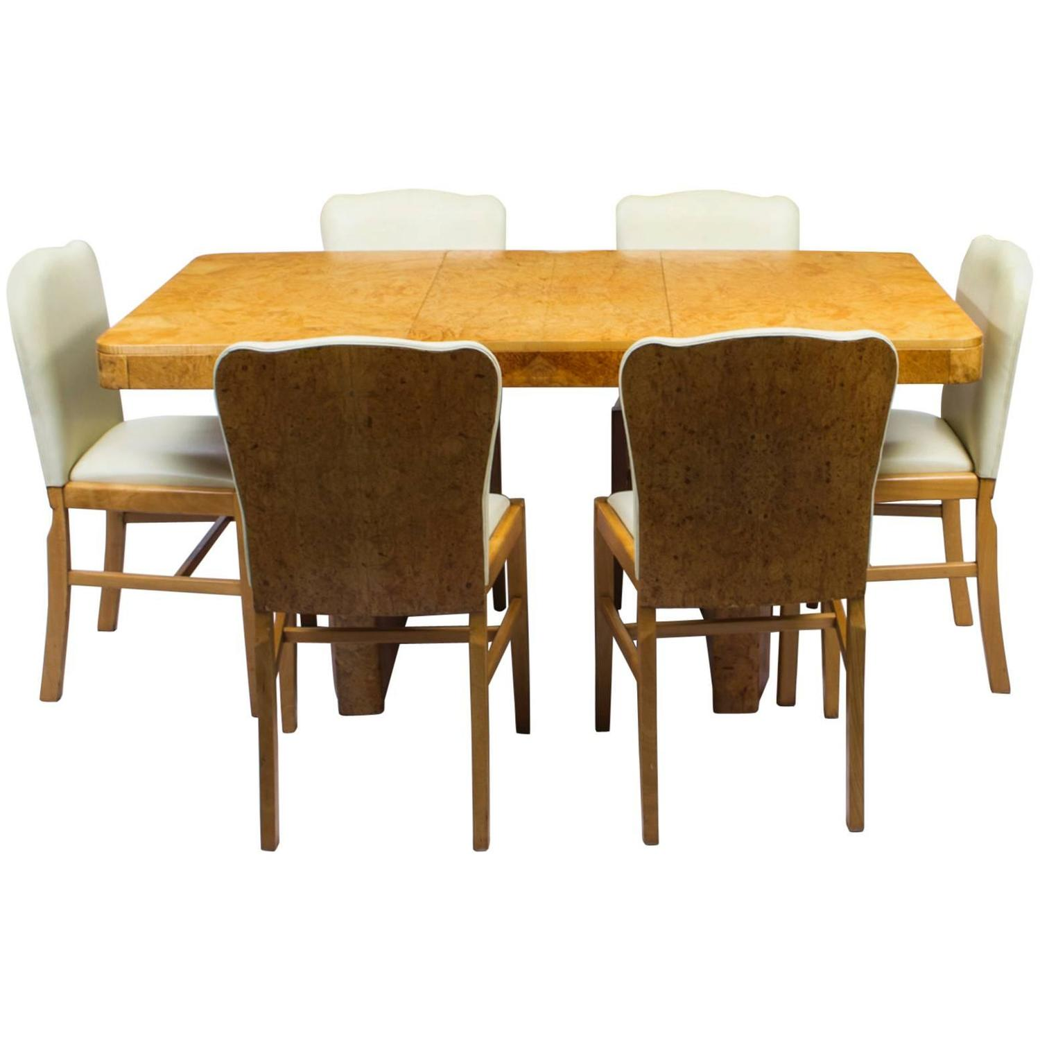 Antique Art Deco Bird s Eye Maple Dining Table and Six Chairs For