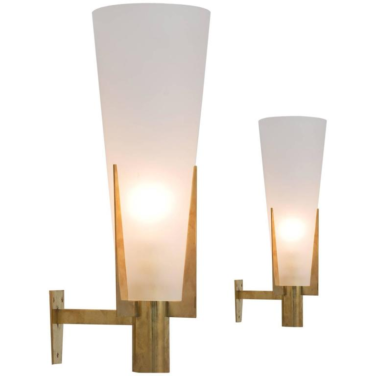 Set of Two Large Brass and Frosted Glass Wall Lights For Sale at 1stdibs