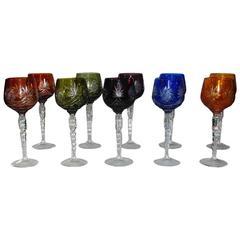 Set of Ten Bohemian Crystal Wine Goblets / Glasses