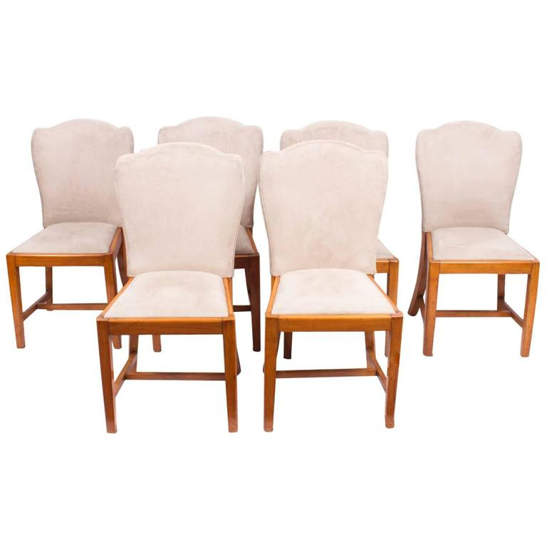 1930s set of six walnut art deco dining chairs epstein for sale at 1stdibs - Epstein art deco furniture ...