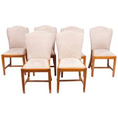 1930s Set of Six Walnut Art Deco Dining Chairs Epstein