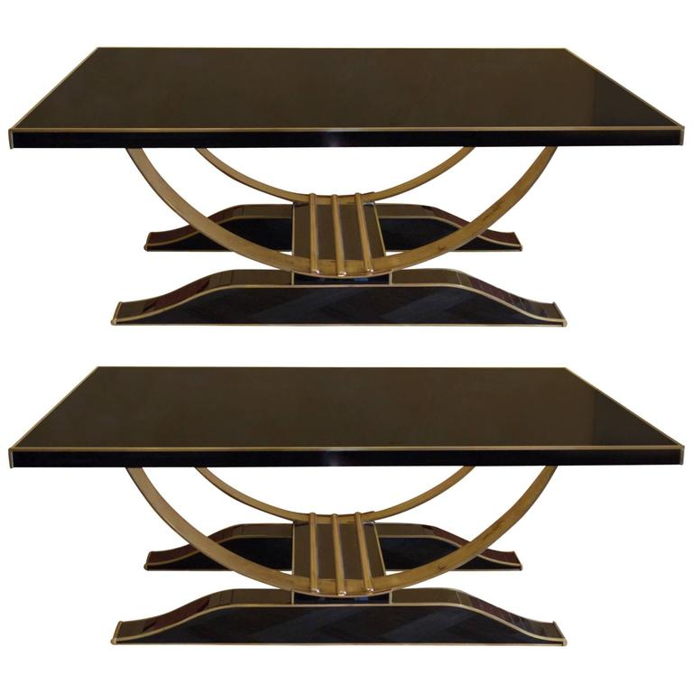 Gorgeous Pair of Late 20th Century Coffee Tables in Black Opaline Glass & Brass
