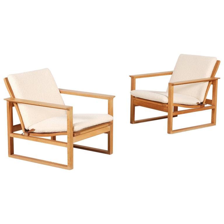 Børge Mogensen Pair of Lounge Oak Chair Model 2256, 1956