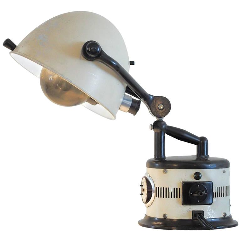White Table Lamp Made of 1940s Sunlamp