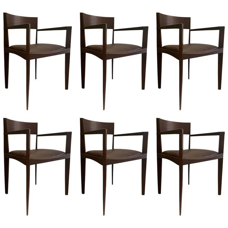Set of Six Dark Brown Italian Dining Chairs