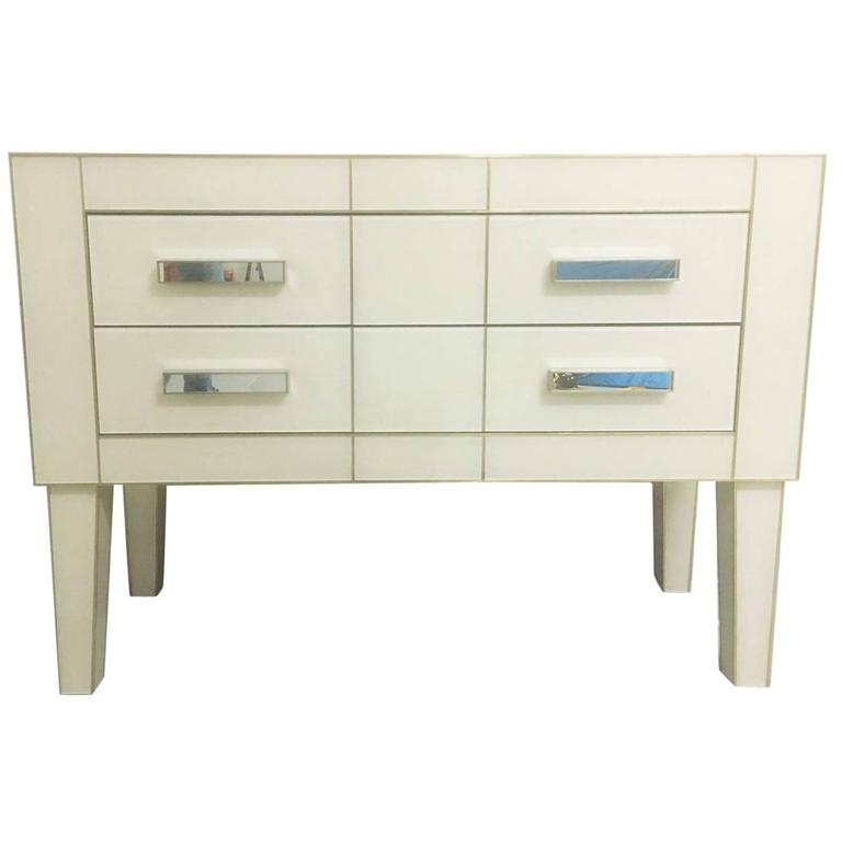 Commode in White Cream Mirrored Glass, Chest of Drawers Mirrored, Credenza at -> Kitea Commode