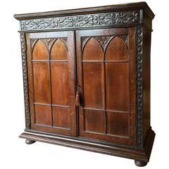 Antique Gothic Revival Oak Hall Bathroom Cupboard Victorian, 19th Century