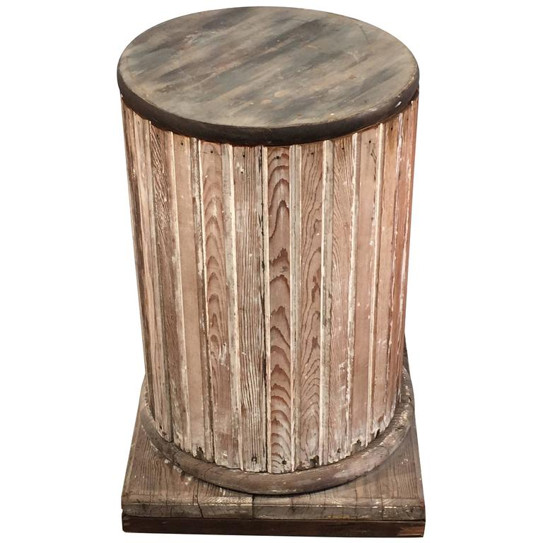 Round fluted wooden pedestal with scraped paint for sale for Fluted pedestal base