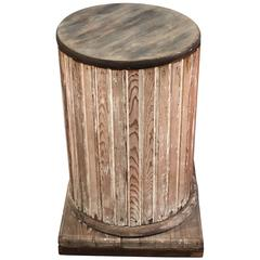 Round Fluted Wooden Pedestal with Scraped Paint