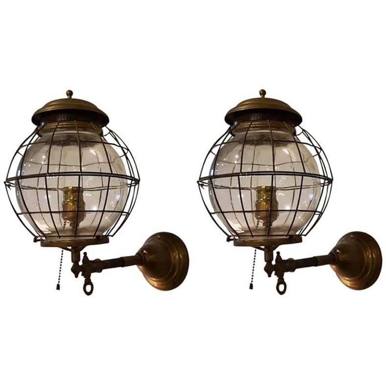 Wall Mounted Gas Lamps : Pair of 19th Century Converted Wall Mount Gas Lamps at 1stdibs
