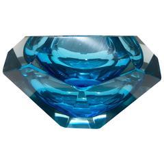 Flavio Poli Murano Glass Blue Centerpiece