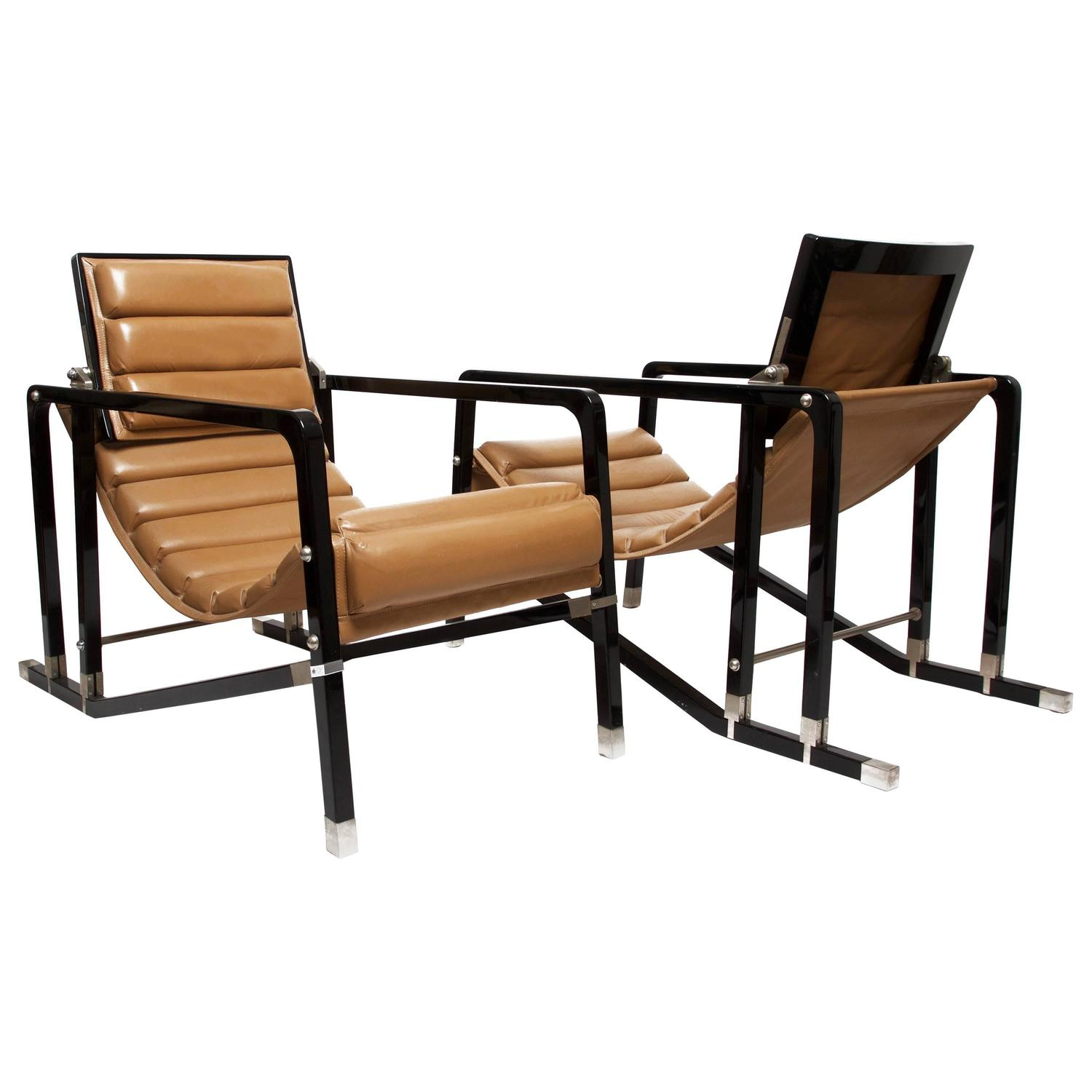 Eileen gray pair of transat chairs by andr e putman - Chaise longue transat ...