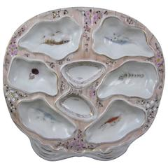 Shell Shaped French Porcelain Oceanic Oyster Plate