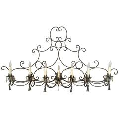 Long French Steel Six-Light Wall Sconce with Tassels and Glass Beads
