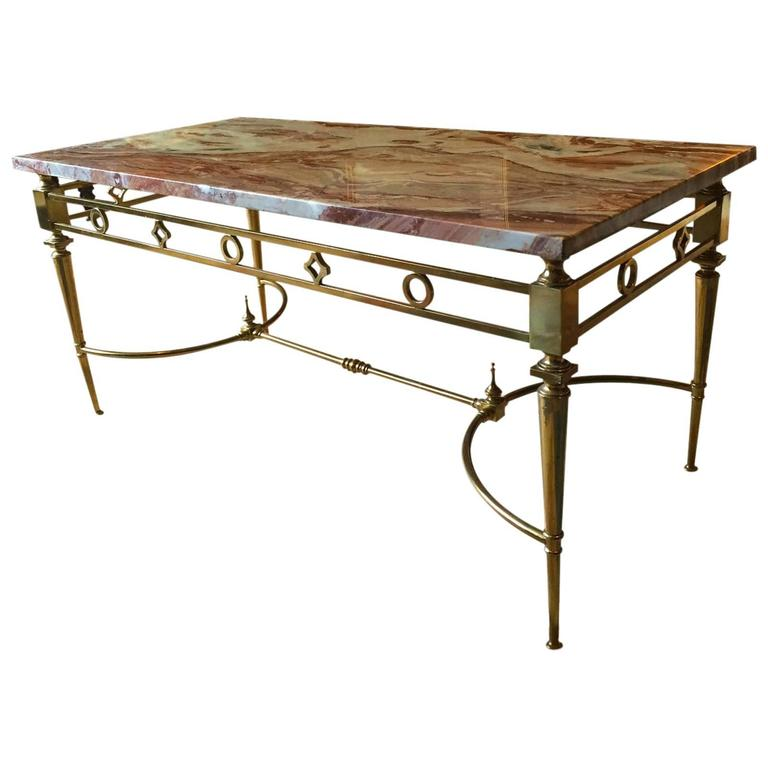 Antique Style Coffee Table Italian Marble Brass