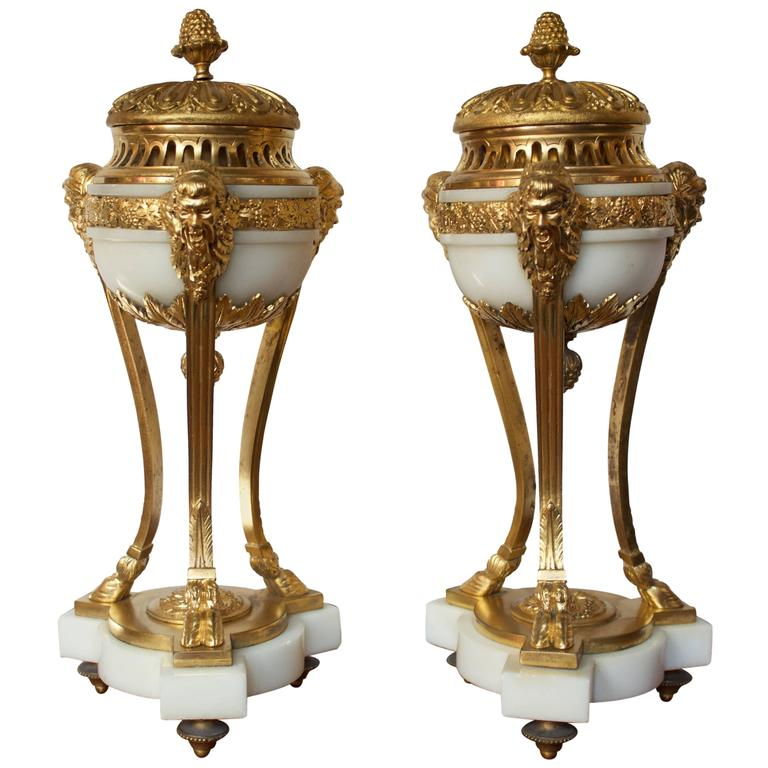 Pair of Early 19th Century French Incense Burners Louis XVI Style For Sale
