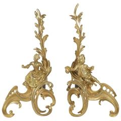 Pair of Louis XV Style Fireplace Irons in Gold Gilt Bronze from the 19th Century