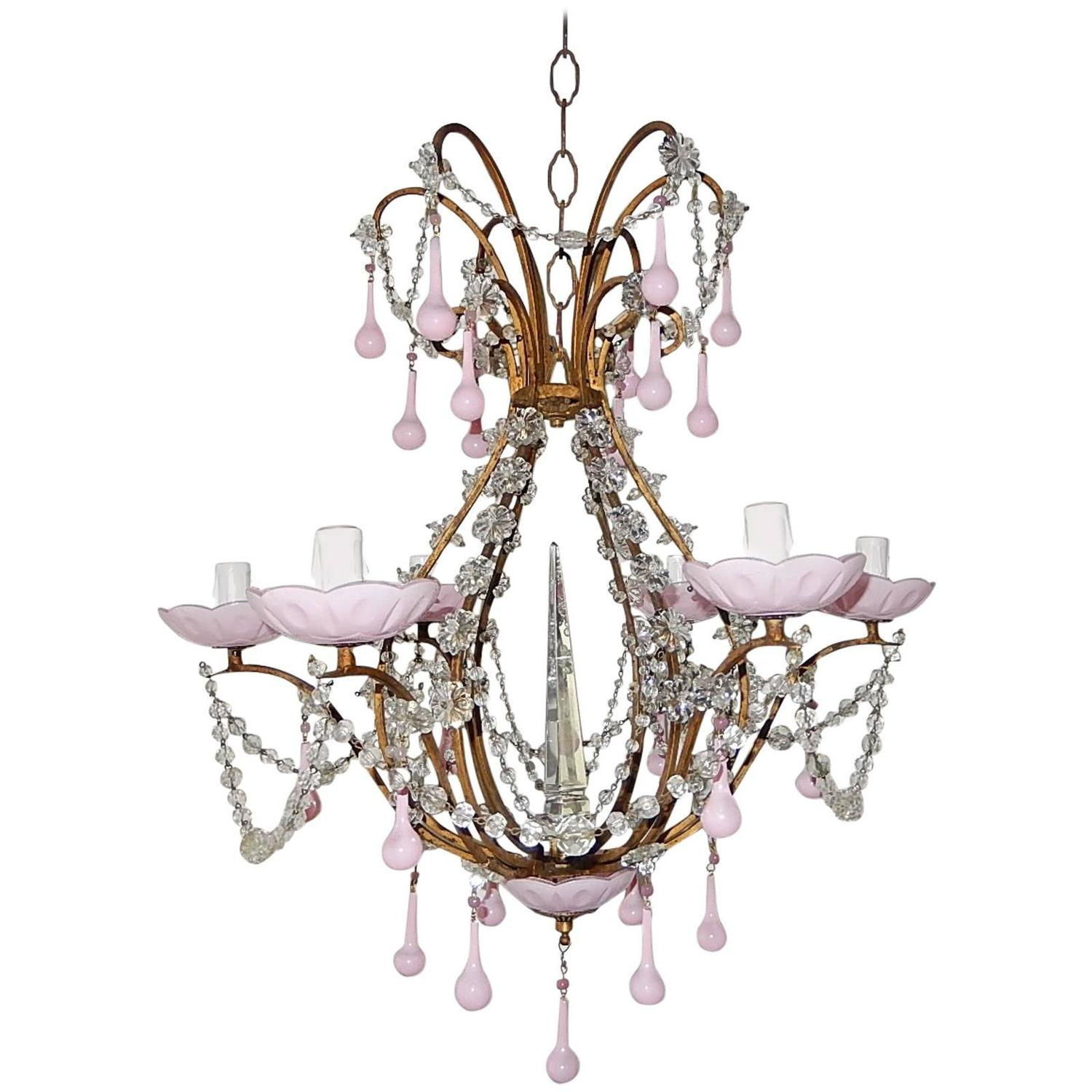 French Bubble Gum Pink Crystal Spear Chandelier at 1stdibs