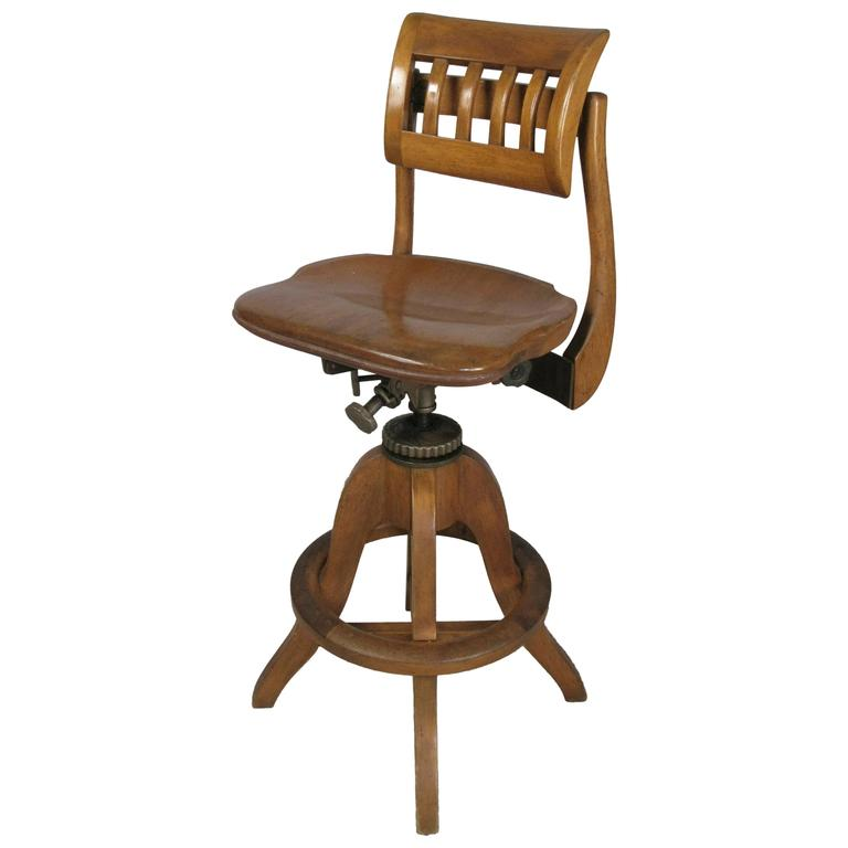 Antique Industrial Adjustable Drafting Stool By Sikes At