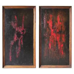 Pair of Abstract Oil Paintings Signed Arthur Fielder, 1965