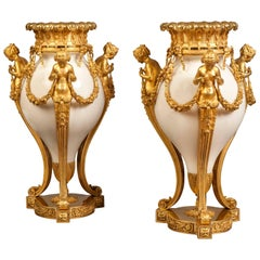 Pair of French Large Ormolu and White Marble Urns, 19th Century