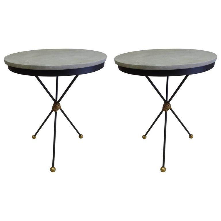 Pair Large French Mid-Century Modern Gilt Iron Side Tables, Style of Poillerat